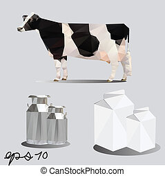cow and milk package vector