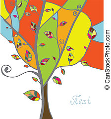 Autumn tree greeting card with leaves and branches