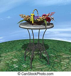 Basket of Flowers - 3D digital render of a vintage basket of...