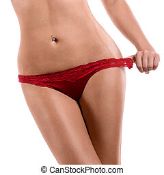 Beautiful slim female body - body o slenderf woman in red...