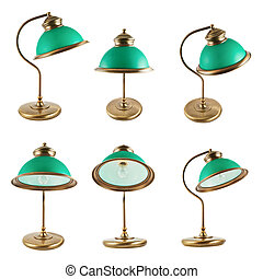 Metal table-lamp isolated - Metal table-lamp with a green...