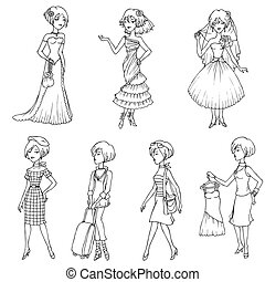 Set of Fashion Girls - hand drawn in vector