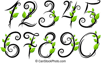 Eco numbers - Vector hand drawn eco numbers