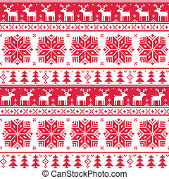 Xmas nordic seamless red pattern - Red christmas vector...