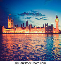 Retro look Houses of Parliament - Vintage looking Houses of...