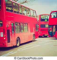 Retro look Red Bus in London - Vintage looking Red Double...