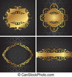 Royal gold Picture frame on dark - Royal gold Picture frame...