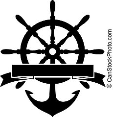 Steering Wheel and Anchor - Label with Steering Wheel and...