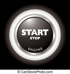 engine start - Press to start stop the engine in black and...