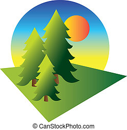 Pine trees with sunrise - Illustration of pine trees with a...