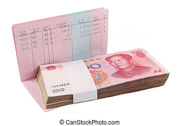 money and passbook - chinese passbook and rmb with white...