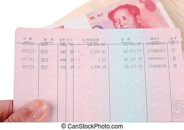 passbook with chinese rmb - the concept of savings of...