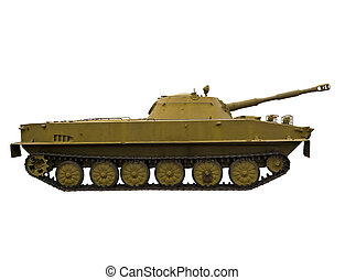 Amphibious Tank - Floating Soviet tank on a white background...