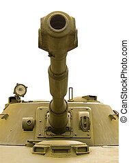 Turret closeup on a white background