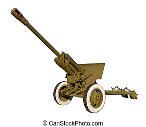 Anti-tank cannon on a white background