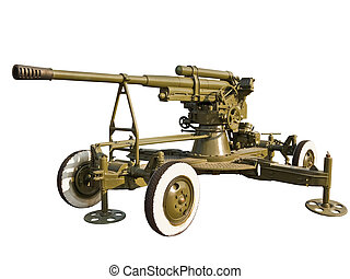 Old antiaircraft gun during the  World War II