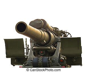 Large-caliber howitzer during the  World War II