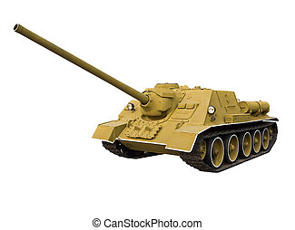 Self-propelled gun on a white background