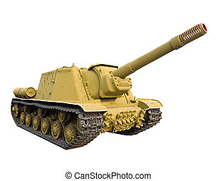 Heavy self-propelled gun  on a white background