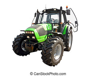 Green farm tractor on a white background