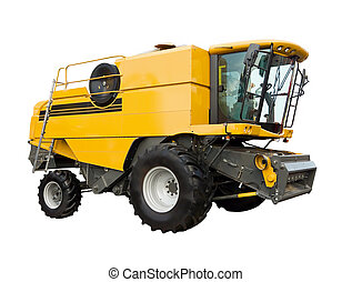 Yellow agricultural harvester