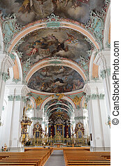 Inside of the Birnau pilgrimage church - The beautiful...