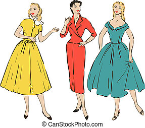 Pin up girls - Retro girls in mid century style