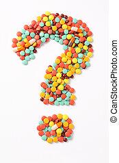 problem of medicament - question mark made of medicaments...