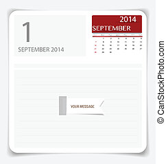 Simple 2014 calendar, September. Vector illustration.