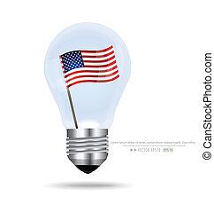 American Flag inside light bulb. Vector EPS10