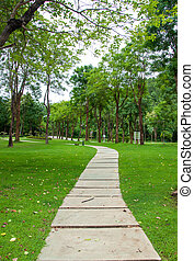 Walkway on green grassy in park