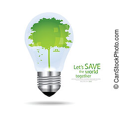 Save the world, Light bulb with tree inside. Vector...