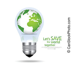 Save the world, Light bulb with globe inside. Vector...