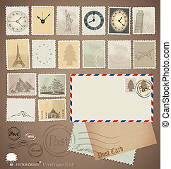 Vector set: Vintage stamp designs, envelope and postcard