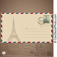 Vintage envelope designs with postage stamp. Vector...