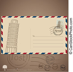 Vintage envelope designs with postage stamp Vector...