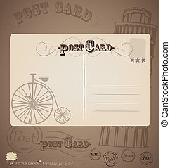 Vintage postcard designs Vector illustration