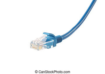 RJ-45 broadband cable - close up of broadband cable RJ-45...