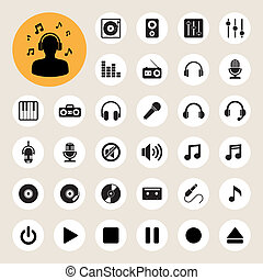 Music icon set. Illustration EPS10