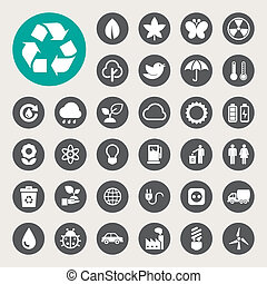 Eco energy icons setIllustration eps10