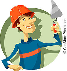 builder with trowel vector illustration isolated on white...