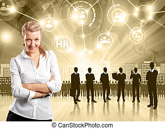 Business Man Employer - HR concept Business man choosing the...