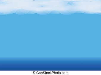 Water landscape with clouds on Vector