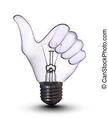 ok, mão, lâmpada, bulbo
