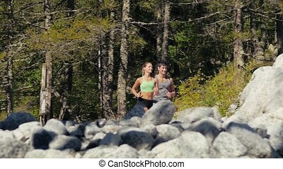 2of4 Young man and woman running