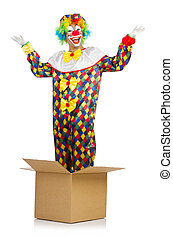 Clown jumping out of the box