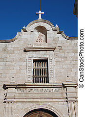 Facade of Catholic Mission - Brick facade of old Spanish...