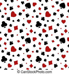 Heart, diamond, spade and clubs bac - The seamless pattern...