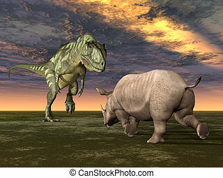 Yangchuanosaurus and Rhinoceros - Computer generated 3D...
