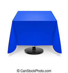 Square table with blue tablecloth. - Square dining table...